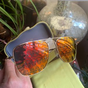 Authentic GUCCI 55 Square mirror skull Metal sungl